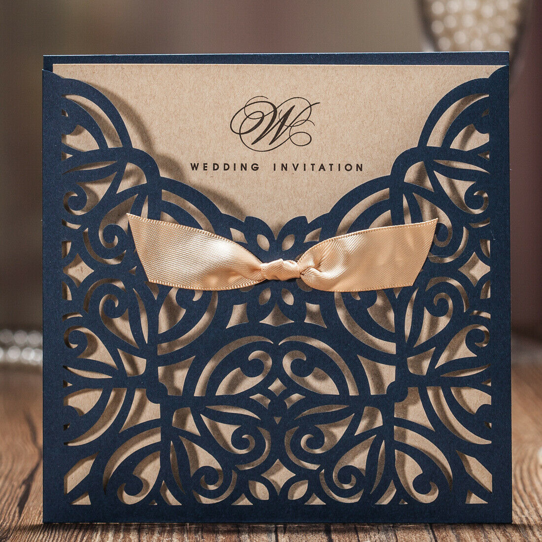 Fl Navy Blue Laser Cut Wedding