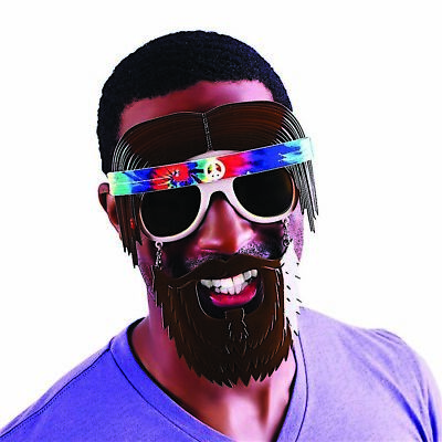 Hippie Men's Adult 60s Costume Plastic Sunstaches With Beard
