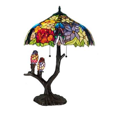 4 Light Tiffany Style Table Lamp Hand Cut Stained Glass Birds Flowers Desk Cord