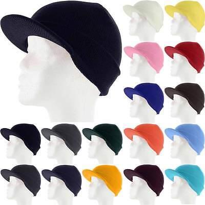 (Plain Visor Beanie Knit Ski Cap Hat Warm Solid Color Winter Cuff New Beany New)