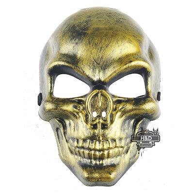 Vintage Gold Skeleton Warrior Plastic Mask Halloween Prop Masquerade Fancy Dress