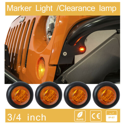 "4x LED 3/4"" Side Marker amber bullet  flashing identification light Round Boat"
