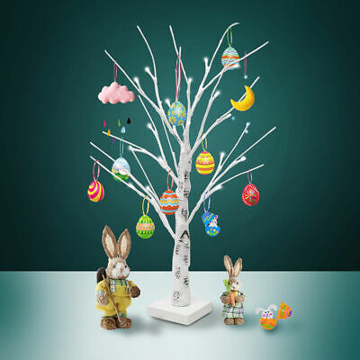 60cm White Easter Tree with Lights Decorative Easter Eggs For Hang Ornaments US