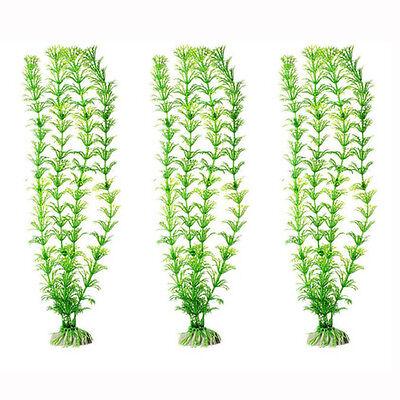 3x Green Aquarium Plants Water Grass Ornament Plant Fish Tank Plastic Decoration