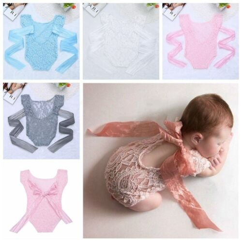 Newborn Baby Girl Lace Floral Romper Bodysuit Photography Photo Prop Costume