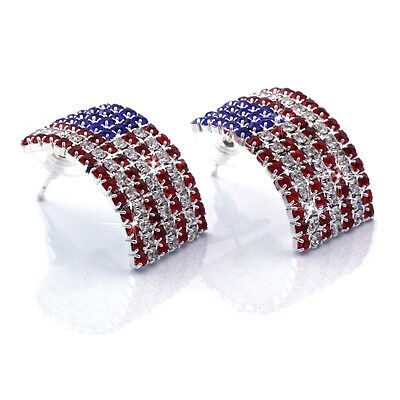 USA US Patriotic American Flag Curved Rectangular Stud Post Earrings - Patriotic Earrings