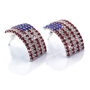 USA US Patriotic American Flag Curved Rectangular Stud Post Earrings Jewelry