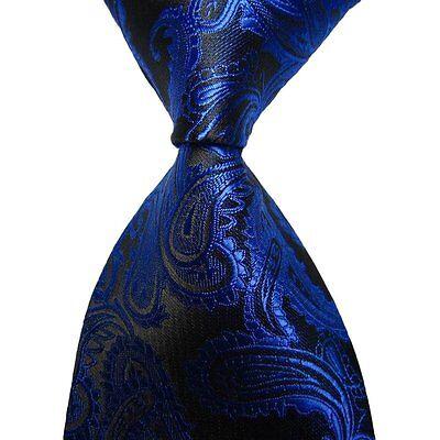 Royal Blue Classic Mens Fashion Paisley Jacquard Woven Men's Tie Wedding Necktie
