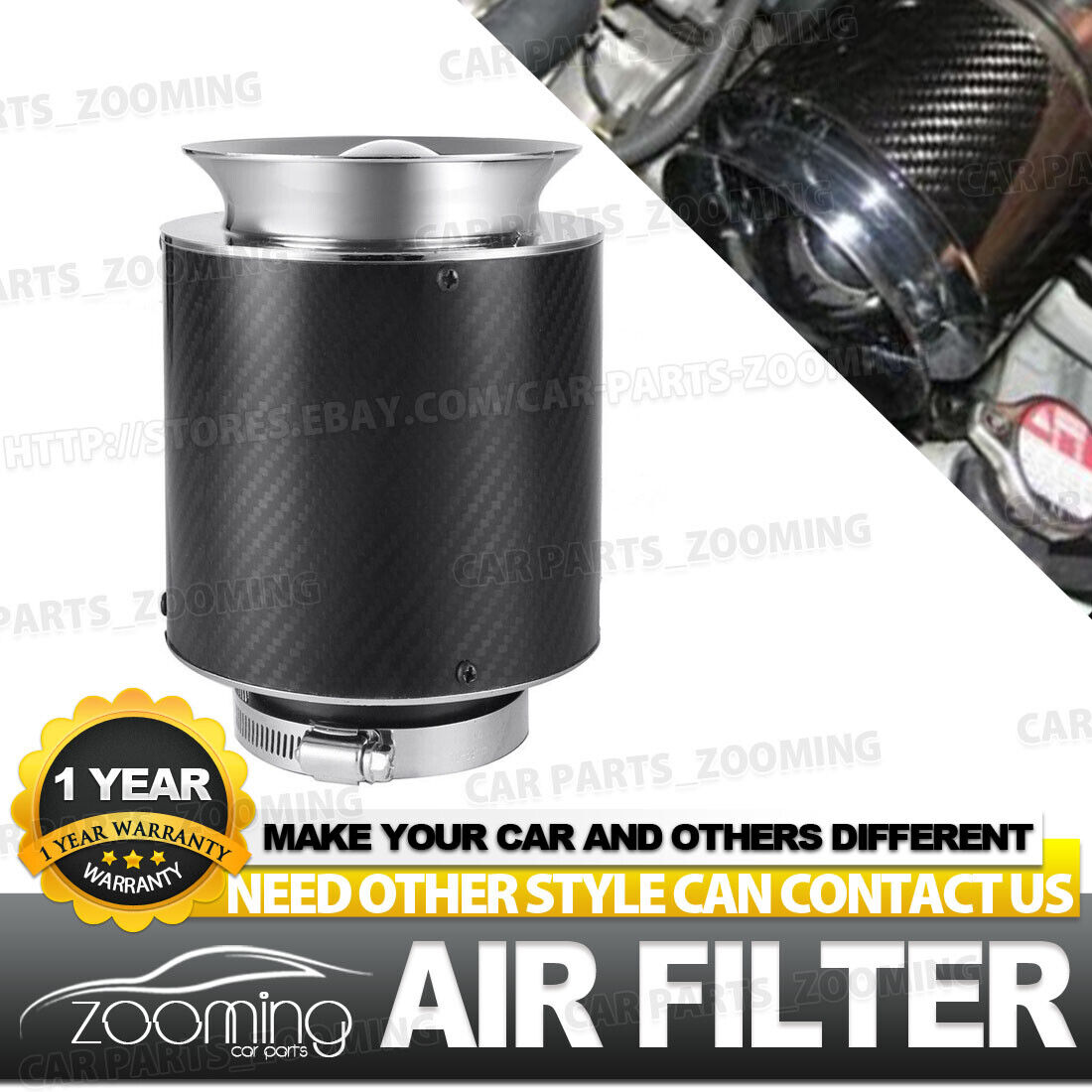 "BLUE UNIVERSAL 3/"" 76mm SMALL AIR FILTER FOR DODGE//JEEP SHORT//COLD AIR INTAKE"