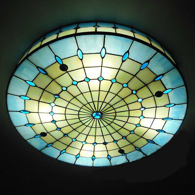 3-light Tiffany Mediterranean Style Blue Big Stained Glass Ceiling Light (Mediterranean Light Fixtures)