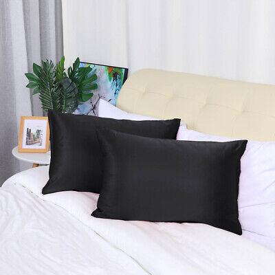 2 Pcs Zippered Silky Satin Pillowcases Black Standard Size P