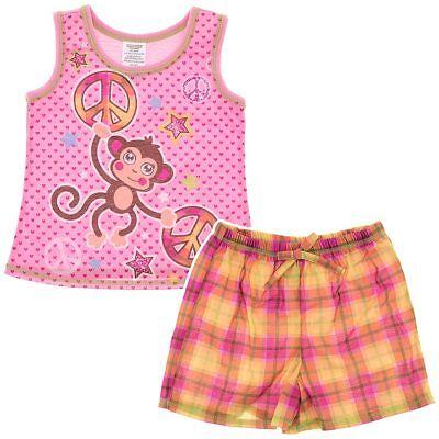Monkey Pink Girls Pajamas - Pink Monkey Shorty Pajamas for Girls Size XS/4-5