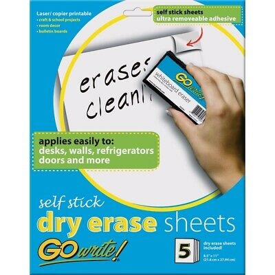 Gowrite Self-stick Dry Erase Surface Sheets - 8-12 X 11 Sheets