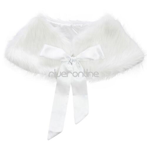 JEATHA Kids Girls Faux Fur Bolero Shrug Jacket Cloak Wedding Flower Girl Princess Wrap Shoulder Cape