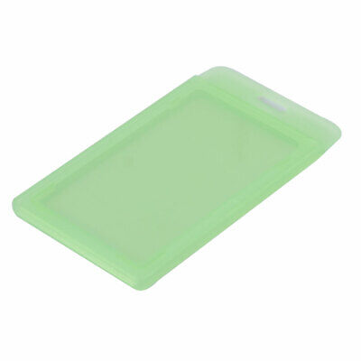 Company Plastic Water Resistant Vertical Name Badge Card Holder Clear Green