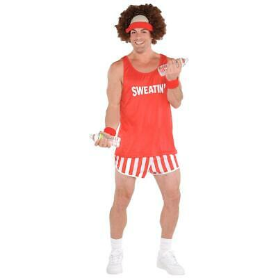 Adults 80s Lets Get Physical Costume Mens Exercise Maniac Fancy Dress (80's Maniac Kostüm)