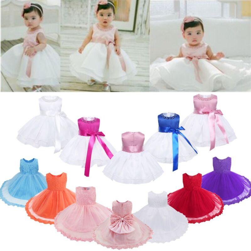 Baby Girls Pearls Baptism Christening Flower Dress Wedding Birthday Tutu Gown