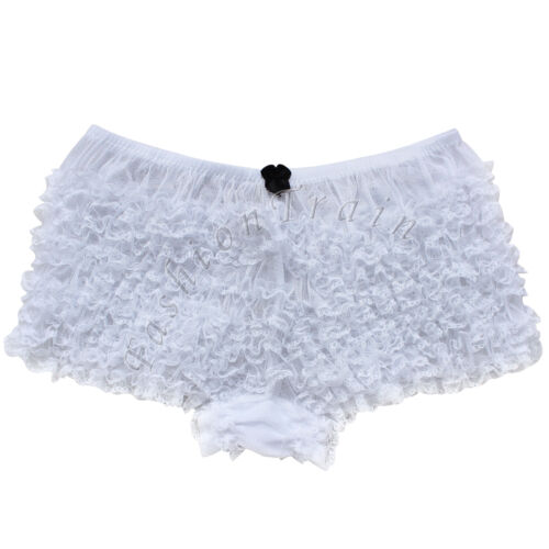 Damen Rüschen Panty Baumwolle Spitzen Rüschenhöschen Rüschenslip Hotpants Sexy