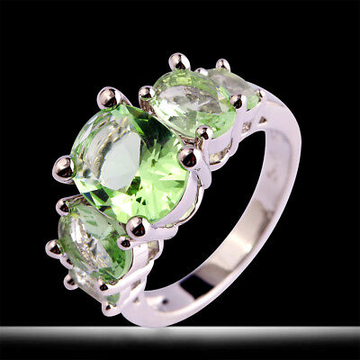 Fashion Oval Cut Green Amethyst Gemstone Silver Ring Sizr 6-13 Women Great Gift - Green Amethyst Fashion Ring