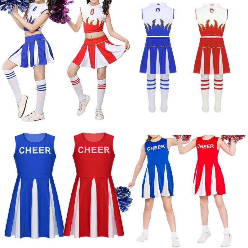 75675463f6b Details about Girls Cheerleader Costume Kids Child Cheer Dancing Book Week  Fancy Dress 4-14Yrs