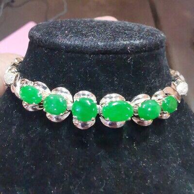 6 pcs, Rare Natural genuine apple green jade jadeite bracelet Burma TypeA+++++
