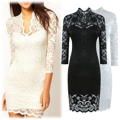 Women's Short V Neck Bodycon Lace Dress, White (L, XL, XXL), Black (S)