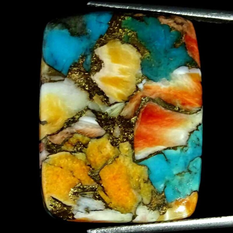 29.00Cts Natural Copper Spiny Oyster Turquoise Cushion Cab Loose Gemstone