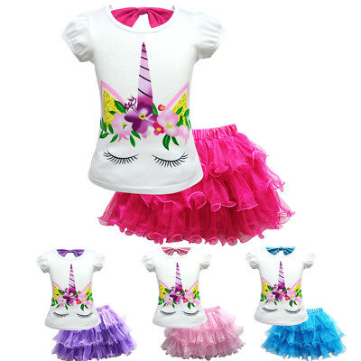Girls Unicorn Princess Party Fancy Dress Tutu Skirt+T-Shirt casual 2pcs set ZG9 - Unicorn Costumes For Girls