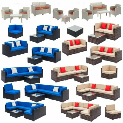Garden Furniture - Patio Rattan Wicker Furniture Set Garden Sectional Couch Outdoor Love Sofa Table