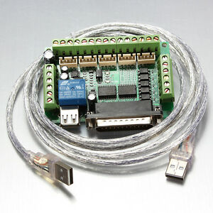 New-5-Axis-CNC-Breakout-Board-Adapter-for-Stepper-Motor-Driver-Mach3-USB-Cable