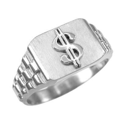925 Sterling Silver Dollar Sign Mens Hip-hop Ring ()