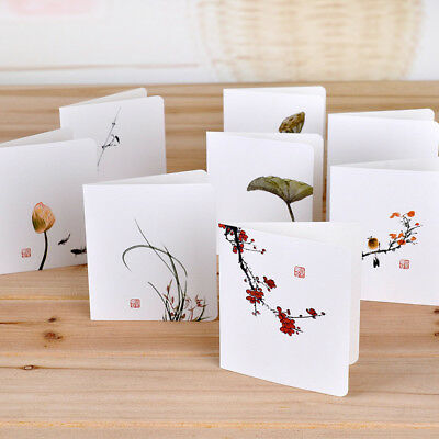Chinese Thank You (8pcs Classical Chinese Wind Flower Dragonfly Mini Cards Set Greeting Thank You)