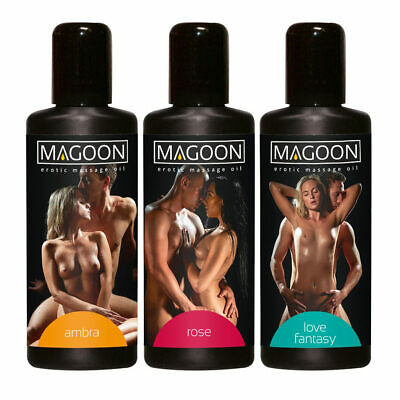 "MAGOON 3er Set Massage-Öle 100 ml Ambra Rose Love Hautpflege Wellness Erotik""T33"