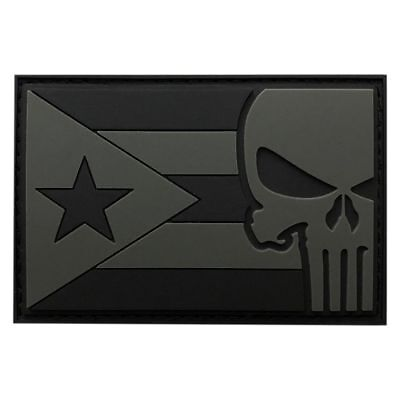 Rubber Patch - Puerto Rico Flag Punisher Tactical Hook Patch 3D-PVC Rubber-3.0 X 2.0 inch -PP7