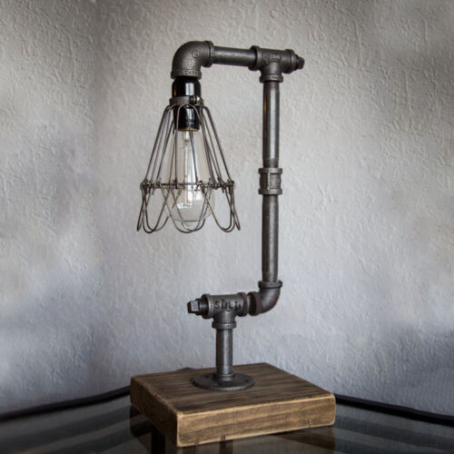 Iron Pipe Table Desk Lamp Light Retro Industrial Style Metal
