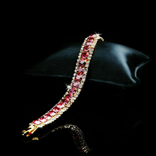 6.75 Ct Round Cut Red Ruby & Diamond 14k Yellow Gold Over Solid Tennis Bracelet
