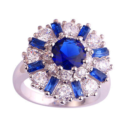 Clearance Sale Blue Sapphire & White Topaz Gemstone Silver Flower Ring Size 6789