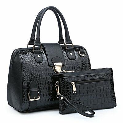 Dasein Women Handbag Croco Multi Finish Satchel Shoulder Bag Top Handles Purse Multi Pocket Top Handle Satchel