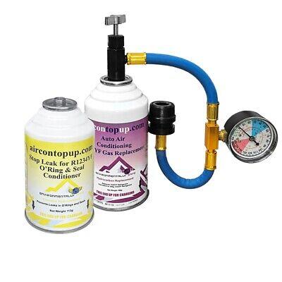 Car Aircon R1234YF Air Con Regas DIY Kit Top Up Topup + Leak Stopper Conditioner