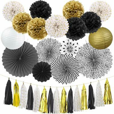 Black And Gold Wedding Decorations (Black and Gold Party Decorations Birthday Party Supplies Paper FanSetTissue)