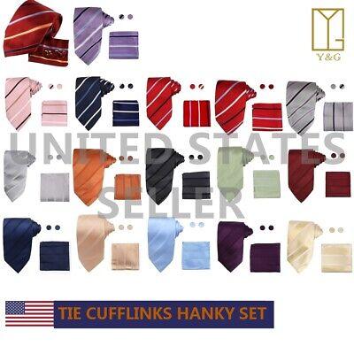 Multicolor Striped Best Certificate Gift Idea Silk Tie Cufflinks Hanky Y&G