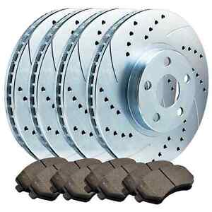 FITS MUSTANG F/R DOUBLE DRILLED SLOTTED PERFORMANCE BRAKE ROTORS + METALLIC PADS