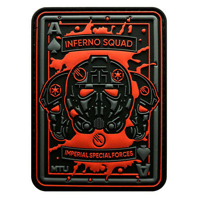 4 Inches Team Patch (Inferno Squad Dead Card Tactical Patch [3D-PVC Rubber-3.5 X 2.5 inch)
