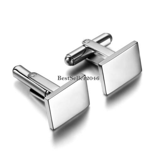 Elegante Manschettenknöpfe Edelstahl Silber Quadrat Manschettenknopf Cufflinks