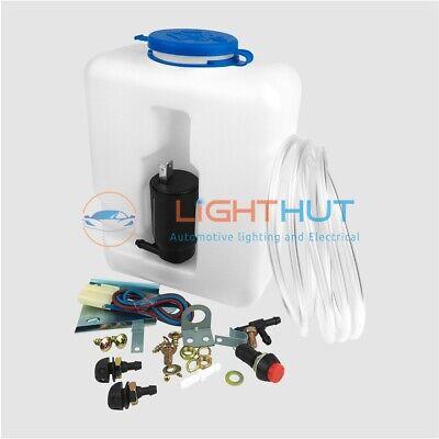 12V Slim Wind Screen Window Washer Kit Screenwash 1.2L Bottle Pump Wiring Jets