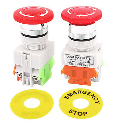 2pcs Emergency Stop Push Button 10a Switch Red Sign Self Locking Mushroom Great