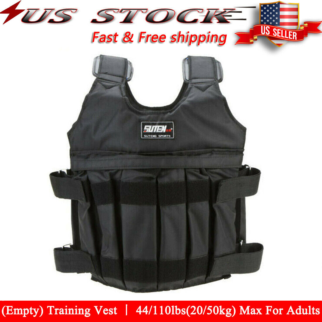 44lbs-110lbs Adjustable Weighted Workout Weight Vest  Traini