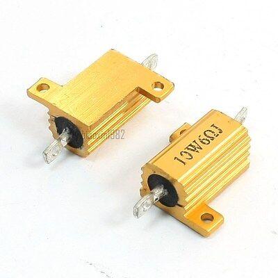 New One Pcs 10watt 6 Ohm Gold Tone Aluminum Housed Clad Wire Wound Resistors