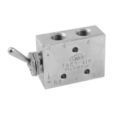 Silver Tone Air Pneumatic 2 Position 5 Way Toggle Switch Valve Tac2-41v