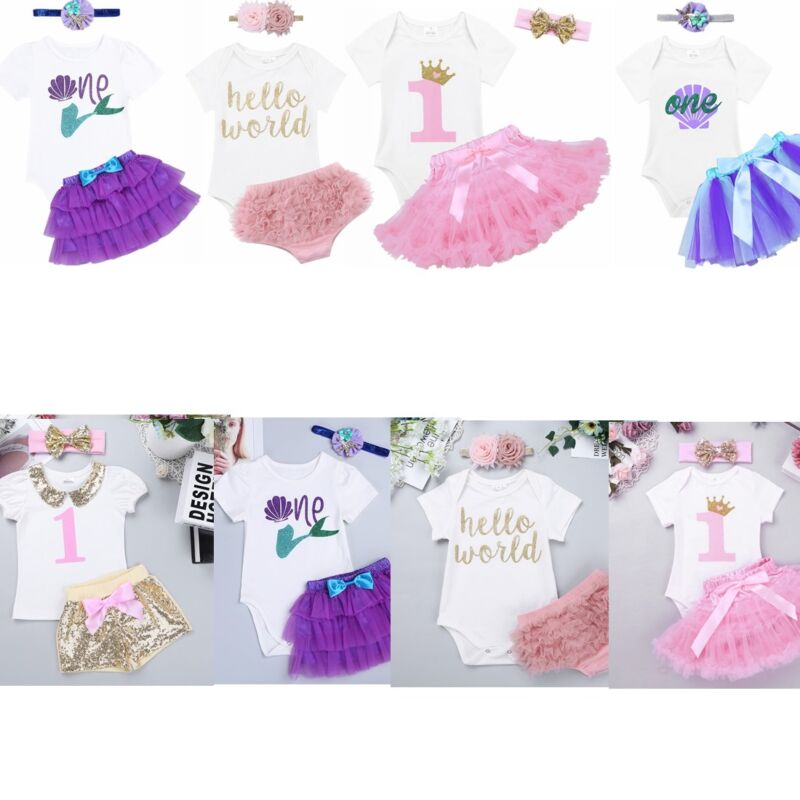 948fd6327 3PC Baby Girl Romper+Tutu Skirt Cake Smash Outfit 1st Birthday Party ...